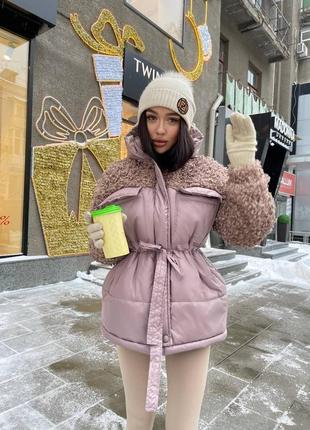 Зимняя куртка с мехом барашка