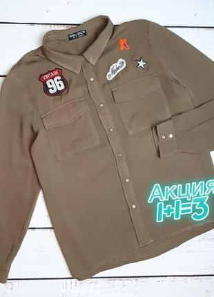 1+1=3 стильная женская рубашка хаки с патчами select, размер 48 - 50