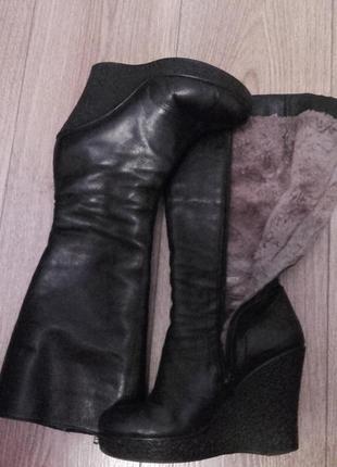 Зимові шкіряні чоботи на цигейці
