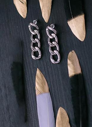 Модные длинные серьги цепи серебристые сток цена на бирке 7 долларов