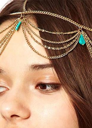 Тика на голову украшение бижутерия с бирюзой на голову и волосы восточная корона