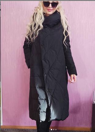 Продам пуховик черный на теплую зиму
