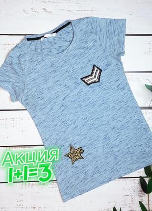 1+1=3 стильная голубая женская футболка с патчами, размер 46 - 48