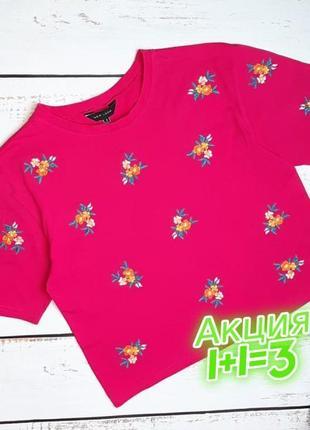 1+1=3 яркая розовая женская футболка с вышивкой new look, размер 46 - 48