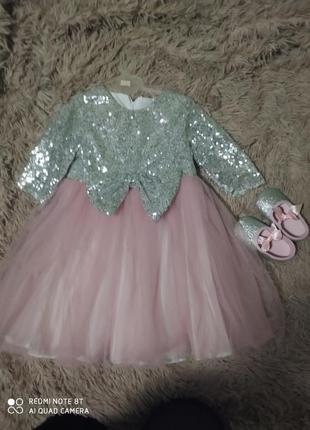 Детское платье на годик. тапули в подарок