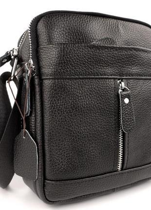 Кожаная мужская сумка с ремнем через плечо/ черная мужские сумки / барсетка чоловіча