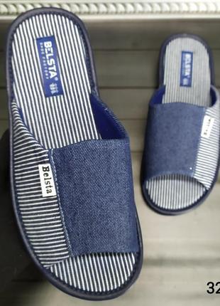 Мужские открытые комнатные тапочки белста, синие под джинс