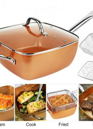 Сковородка-фритюрниця квадратная с крышкой