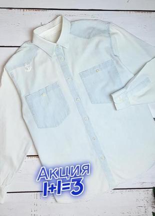 1+1=3 стильная голубая женская рубашка с вышитым якорем, размер 48 - 50