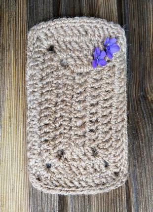 Мочалка натуральная прямоугольная из джута (одевается на руку)