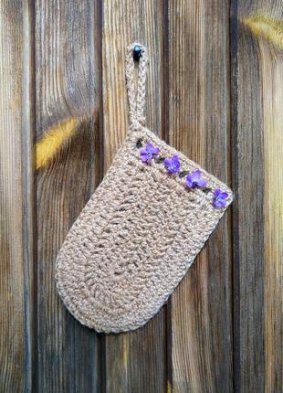 Мочалка-варежка натуральная из высококачественной джутовой пряжи