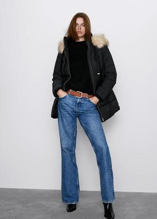Новый пуховик с капюшоном zara, оригинал, зимнее пальто, пуховая куртка