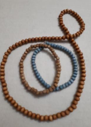 Чокер деревянные бусы браслеты в подарок комплект