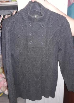 Свитер вязанный кофта серый