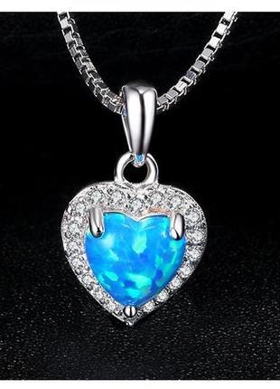 Серебряная подвеска/ кулон с голубым огненным опалом