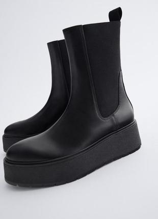 Ботинки zara зара ботильоны челси сапоги новые 38 и 39 размер кожаные чёрные