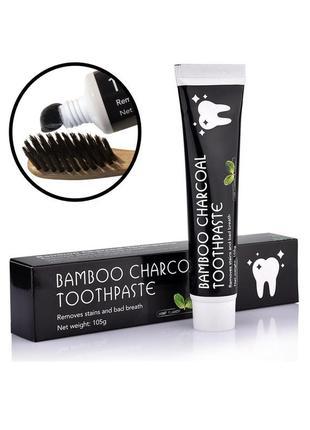 Черная зубная паста на основе бамбукового угля, 105 мл
