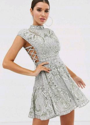 Платье со шнуровкой бисер, камни, пайетки асос