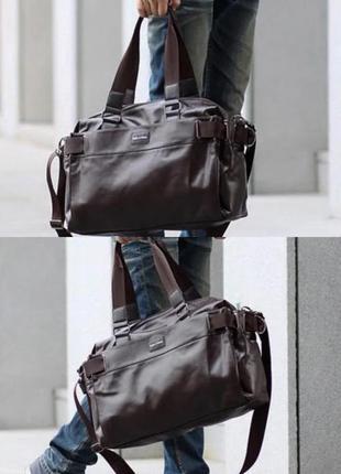 Коричневая дорожная спортивная мужская кожаная сумка ручная кладь