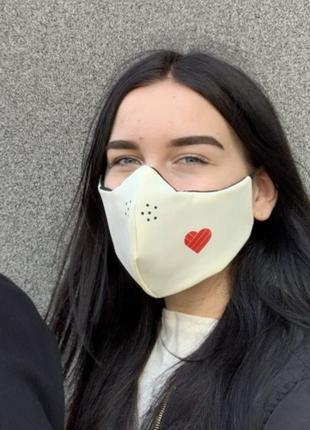 Многоразовая маска со сменным фильтром сердце