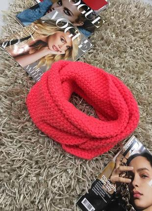 Теплый шарф хомут крупной вязки цвет неон от gap