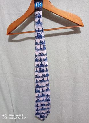 Новый шелковый  фирменный robin ruth галстук шёлк 💯