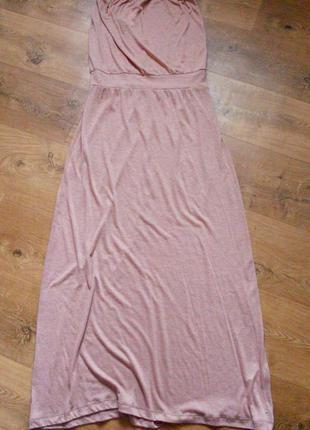 Длинное кремовое платье в пол, без бретелей