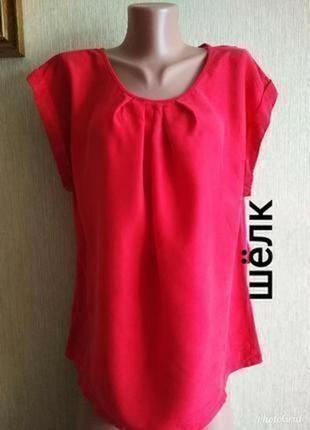 Фирменная блуза из натурального шелка,спинка коттон,р. 42