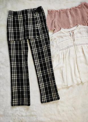 Черные теплые натуральные штаны брюки с шерстью клетку с юбкой передником burberry
