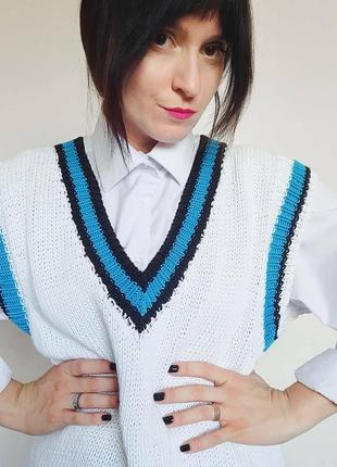 Вязаный жилет, модный женский жилет, жилет ручной работы