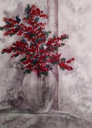 "Картина 40*30 ручная работа ""цветы в вазе"""