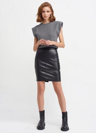 Чорна спідниця еко-шкіра dilvin, юбка карандаш из еко-кожи