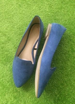 Лоферы балетки туфли синие стильные эко замш базовые классика reserved идеальное состояние