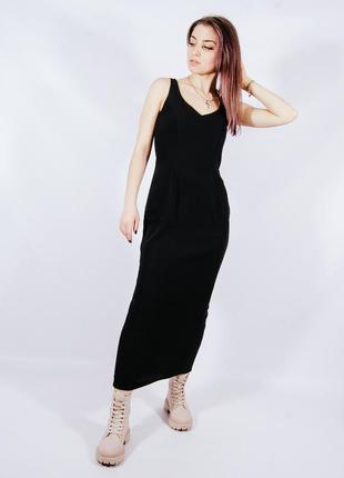 Черное длинное платье-сарафан, сарафан в пол, чорна довгасукня-сарафан