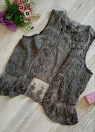 Кружевная накидка блуза