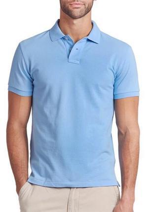 Голубая футболка поло тенниска 100% хлопок размеры