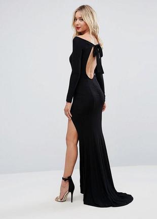 Макси длинное черное платье с разрезом, с рукавами, открытая спина, открытые плечи