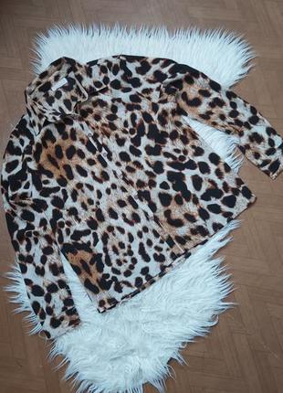 Блуза рубашка в леопардовый принт