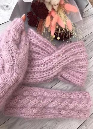 Набор митенки и повязка чалма, мохеровые митенки, вязаная повязка на голову