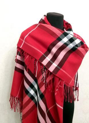 Элитный кашемировый платок палантин шаль шарф pashmina клетка красный