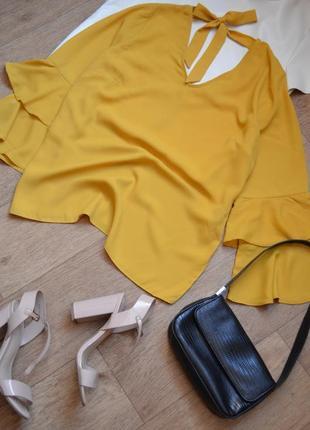 Papaya желтая блузка с воланами на рукавах с рюшами прямая легкая шифоновая летняя