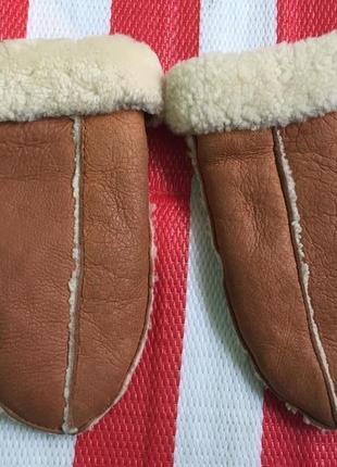 Очень тёплые шикарные  варежки на овчине/натур замша + натур овчина