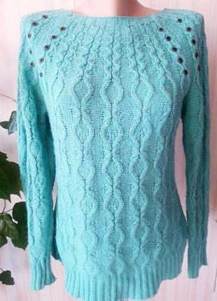 !шерстяной теплый бирюзовый свитер турция размер  xxl