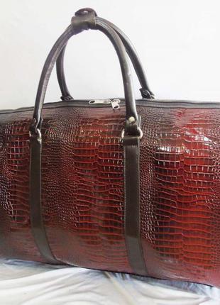 Коричневая дорожная сумка ручная кладь эко кожа сумка ручна поклажка без предоплат