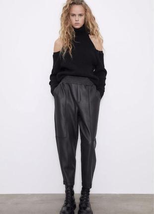 Теплые брюки zara кожаные брюки штаны еко кожа шкіряні штани