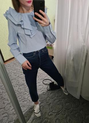 Шикарная хлопковая рубашка, сорочка оверсайз с рюшей