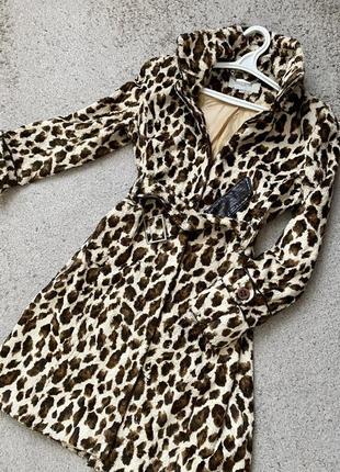 Леопардовое пальто тедди