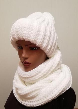 Молодёжный комплект шапка и снуд белый крупная вязка