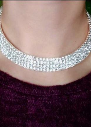 Чокер на шею ожерелье вечерние камни колье стразы
