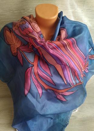 Шелковый платок с павлином 100%шелк